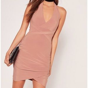 Missguided slinky wrap halter mini dress